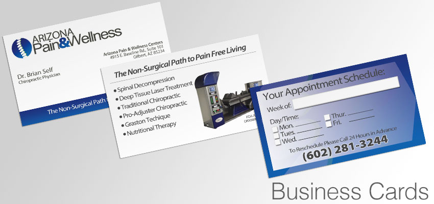 Business Cards with contact info and appointment reminder