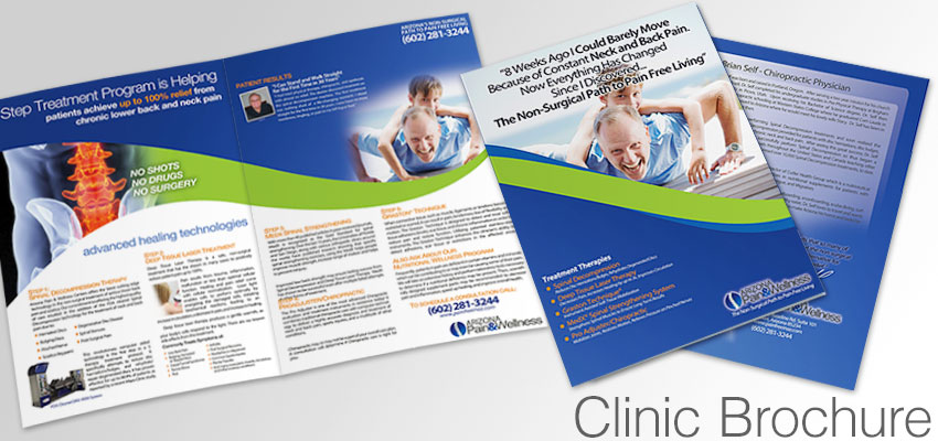 Clinic Brochure detailing the benefits of decompression, chiropractic, and back pain relief