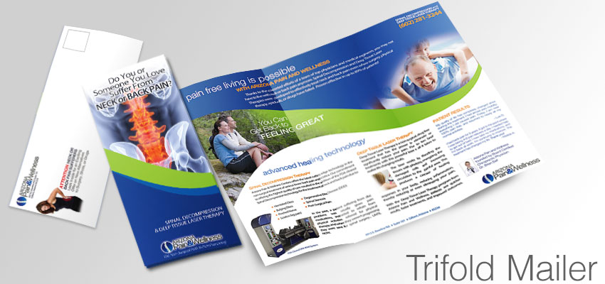 Trifold Mailer promoting decompression, chiropractic, and back pain relief